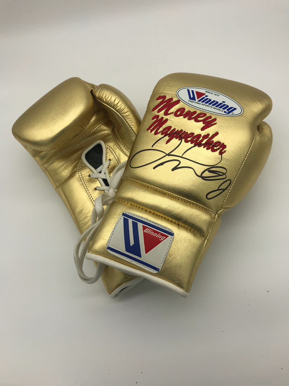 Floyd Mayweather Junior Gold Training style glove Signed