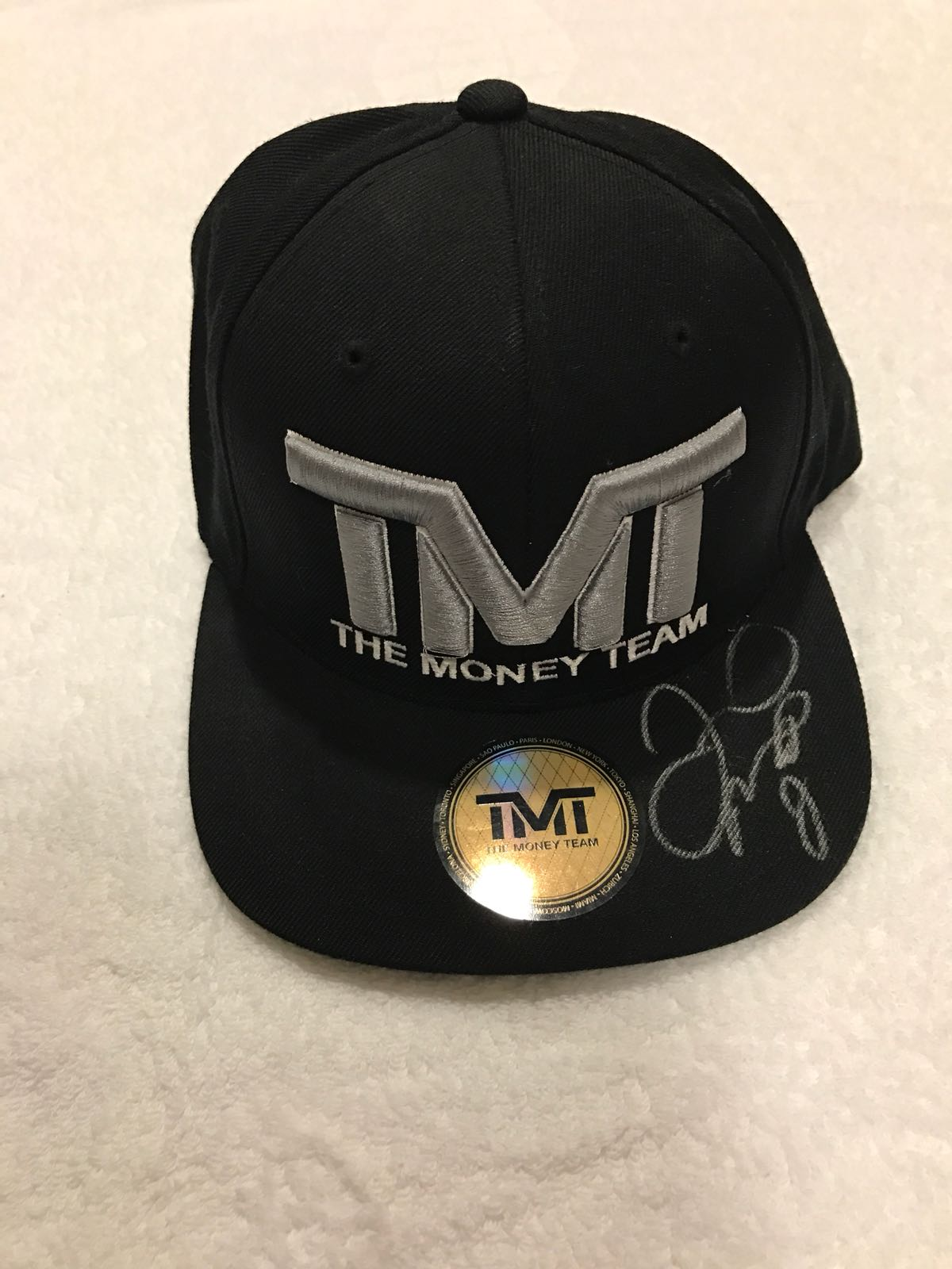 Home Floyd Mayweather Caps Floyd Mayweather Signed Black Silver Official TMT  Cap Hat.    81984fb3bdf6