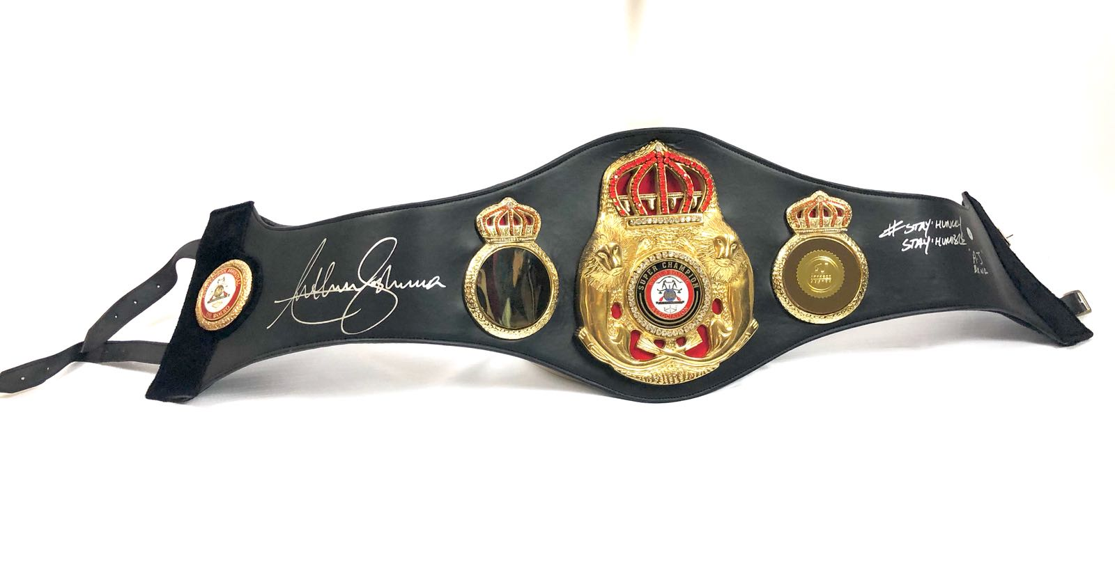Anthony Joshua full size signed black boxing belt #stay humble #stay hungry - The Memorabilia Team