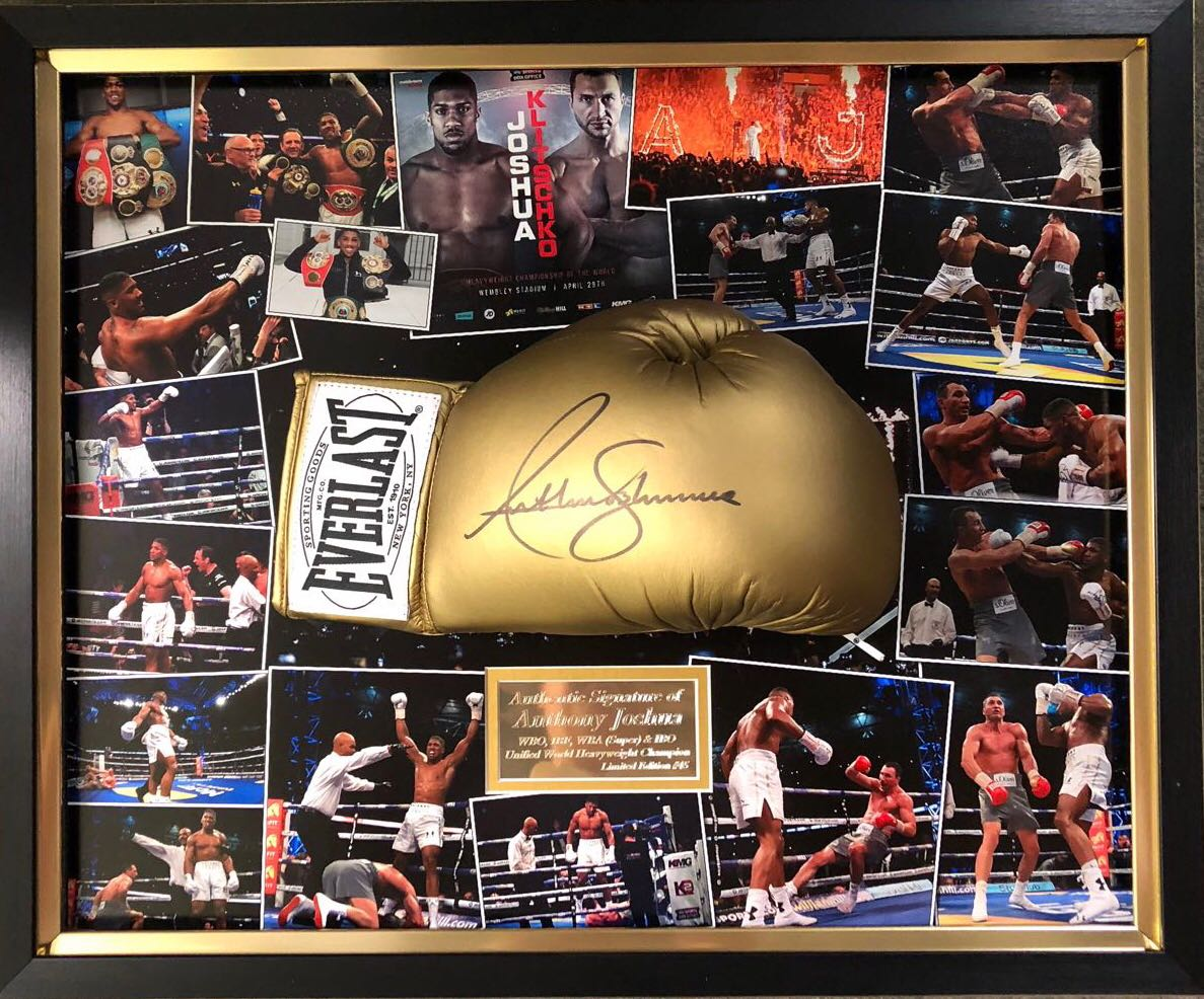 295275fd601 Home Anthony Joshua Frames Anthony Joshua Signed Everlast Boxing Glove in  Superb Dome Bubble Effect Frame Inc C.O.A.   