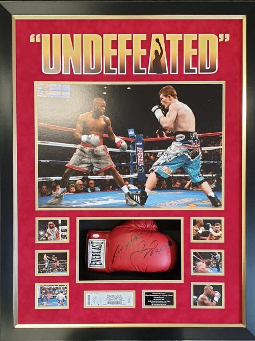 Floyd Mayweather v Ricky Hatton duel signed everlast boxing glove in deluxe frame inc C.O.A