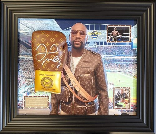 Floyd Mayweather signed deluxe boxing glove in frame inc C.O.A